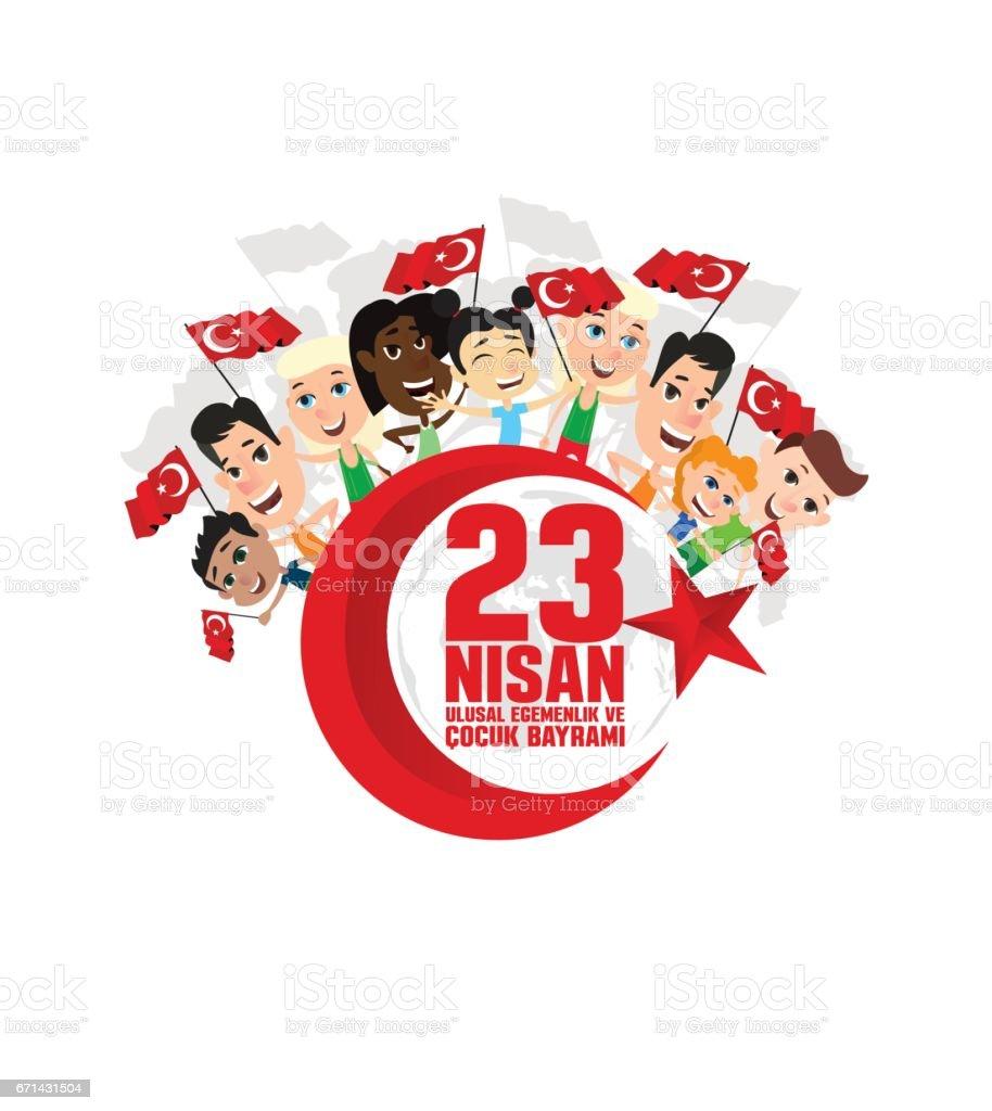 cocuk baryrami 23 nisan vector art illustration