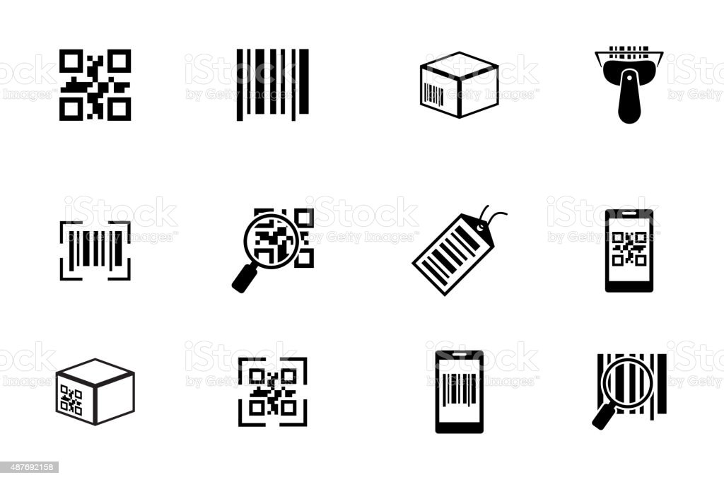 QR code and bar icons set vector art illustration