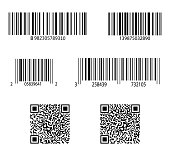 Code bar. Barcode for scan. QR sticker, scanner. Label of product. Retail sale with identification. Set of digital price tags with information. ID inventory of packaging with qrcode in store. Vector.