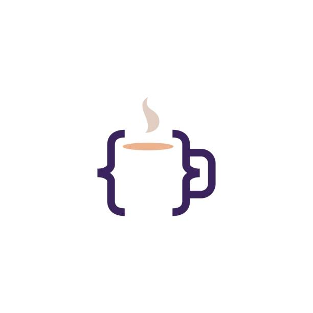 code kaffee café becher glas vektor symbol illustration - cafe stock-grafiken, -clipart, -cartoons und -symbole