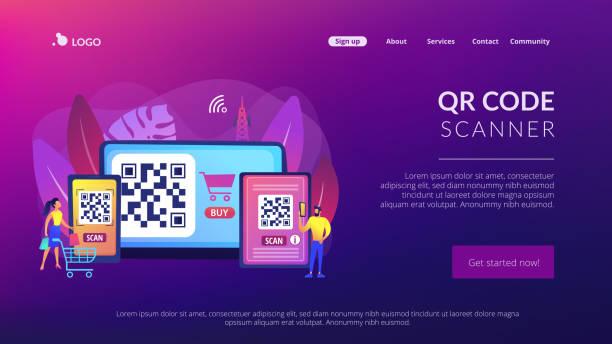stockillustraties, clipart, cartoons en iconen met qr-code concept landing page - krachtapparatuur
