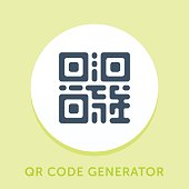 Curved Style Line Vector Icon for QR Code Generator.