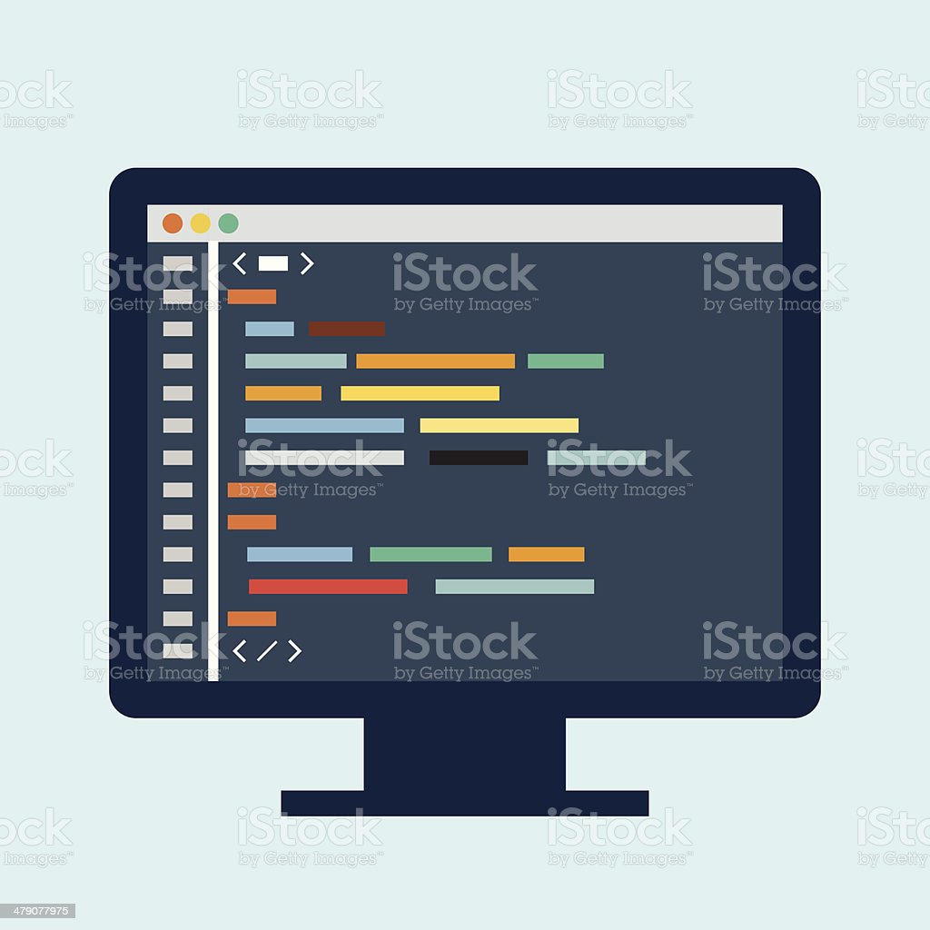 Code editor on a monitor vector art illustration