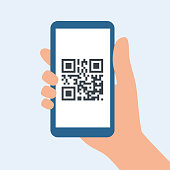 QR code for leaving the house during covid-19 quarantine. Preventive measures for coronavirus. Hand holding a smartphone with a barcode on the screen. Vector illustration