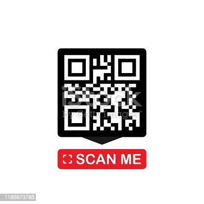 QR code for smartphone. Inscription scan me with smartphone icon. Qr code for payment. Vector illustration.