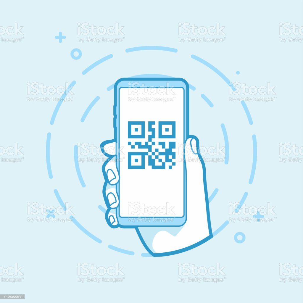 Qr Code Icon On Smartphone Screen Hand Holding Smartphone Stock ...
