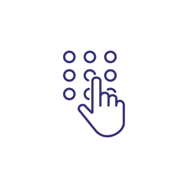 Code lock line icon Code lock line icon. Hand touching keypad on white background. Security concept. Vector illustration can be used for topics like app, mobile, banking, program dial stock illustrations