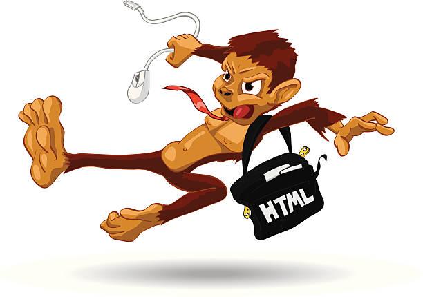 code monkey - laptoptaschen stock-grafiken, -clipart, -cartoons und -symbole