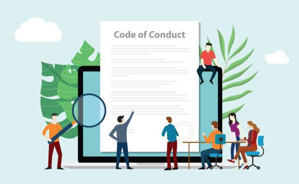 illustrazioni stock, clip art, cartoni animati e icone di tendenza di code of conduct team people work together on paper document on laptop screen - vector - dilemma morale