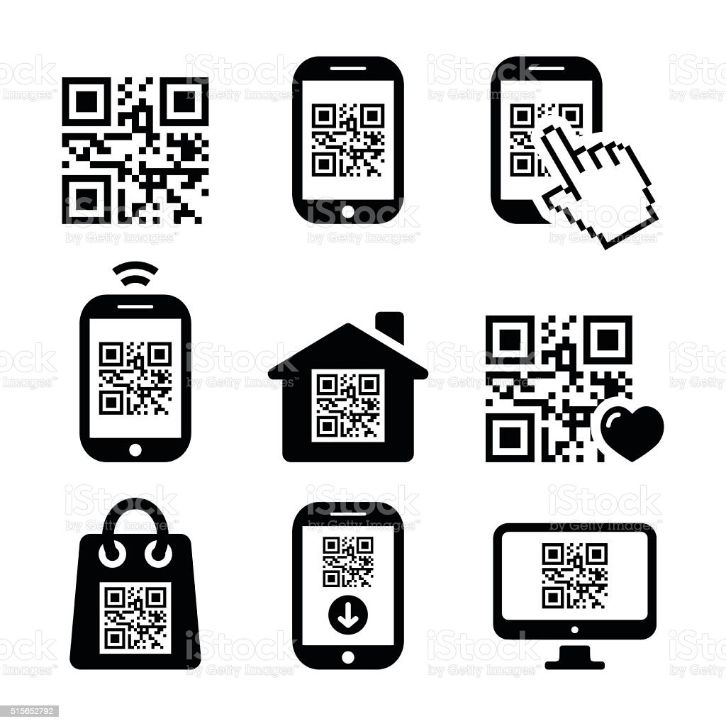 Qr Code On Mobile Or Cell Phone Icons Set Stock Vector Art More