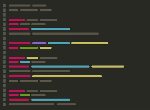 Code on screen vector illustration, flat cartoon coding or programming script text on monitor display, code editor screenshot clipart