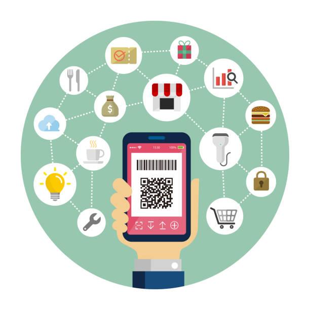 QR code payment, smartphone payment /  round banner vector illustration vector art illustration