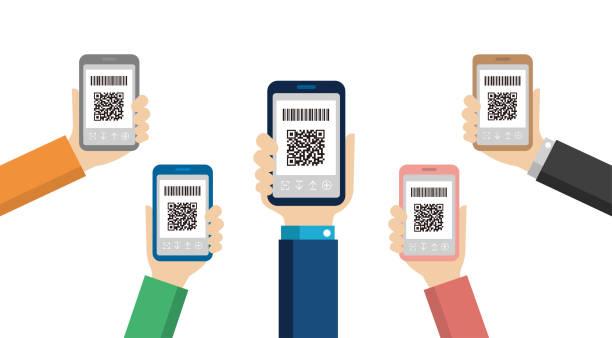 QR code payment, smartphone payment vector illustration (hand-held) vector art illustration