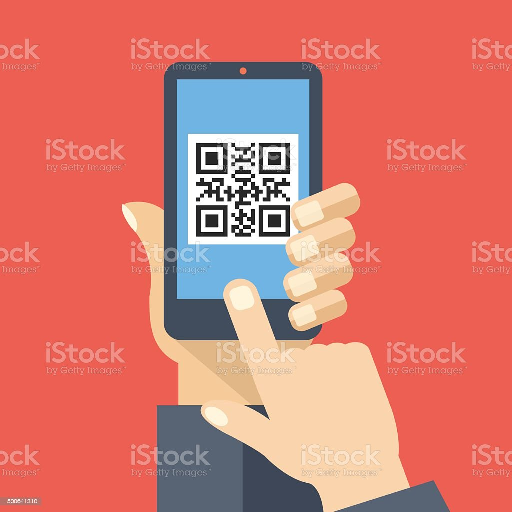 QR code reader app on smartphone screen. Scan QR code vector art illustration
