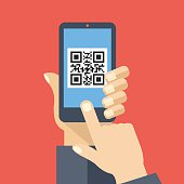 QR code reader app on smartphone screen. Scan QR code