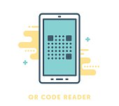 Thin line icon QR code reader. Modern style vector illustration concept.