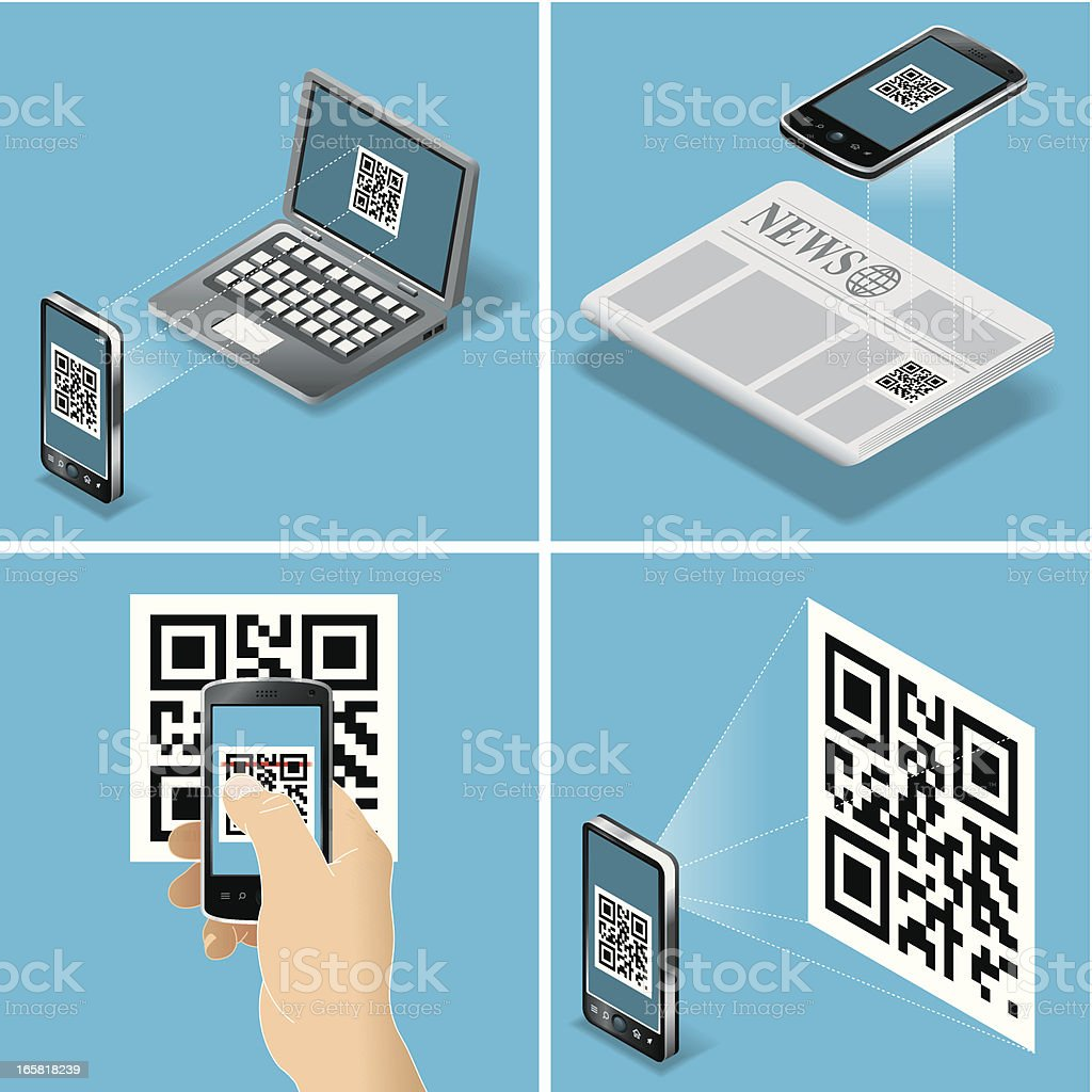 QR Code Scan vector art illustration
