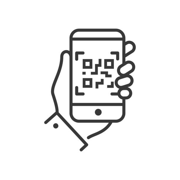 QR code scanner - line design single isolated icon QR code scanner - line design single isolated icon on white background. An image of a hand holding a smartphone. High quality black pictogram coding stock illustrations