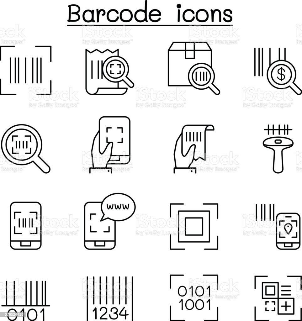 Qr Code Scanner Package Code Barcode Reader Icon Set In Thin Line