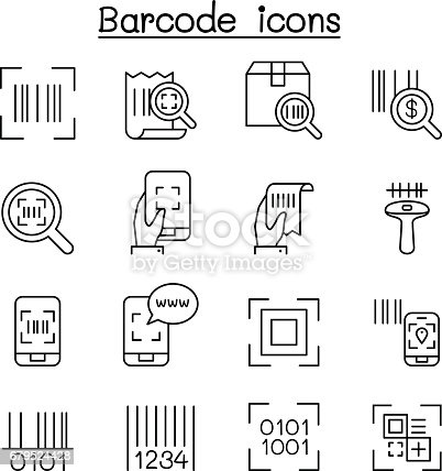 Qr Code Scanner Package Code Barcode Reader Icon Set In