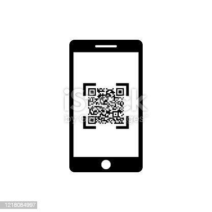 QR code, scanner with smartphone icon for web or appstore design black symbol isolated on white background. Vector EPS 10.
