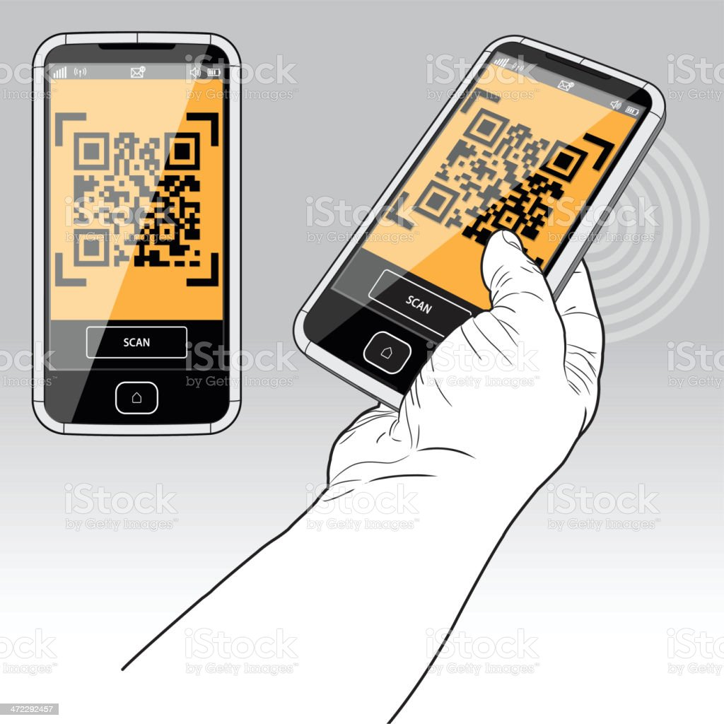 QR Code scanning by Smart Phone royalty-free stock vector art