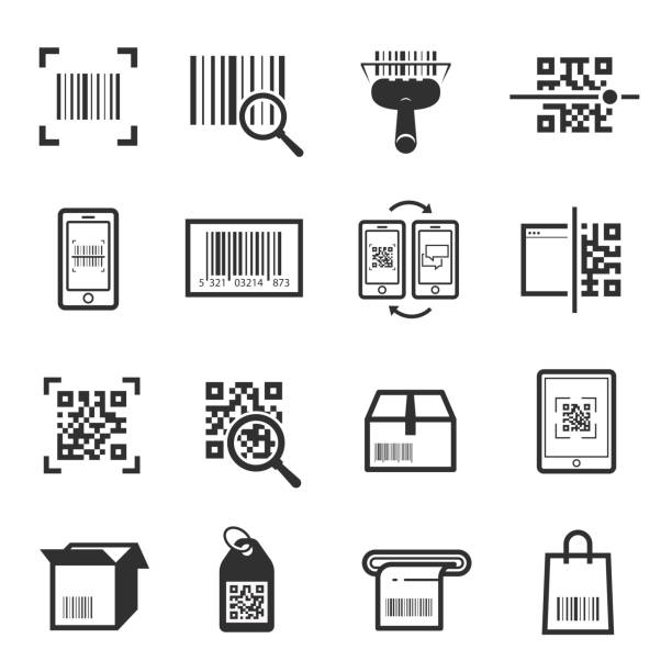 Code scanning icon set vector art illustration