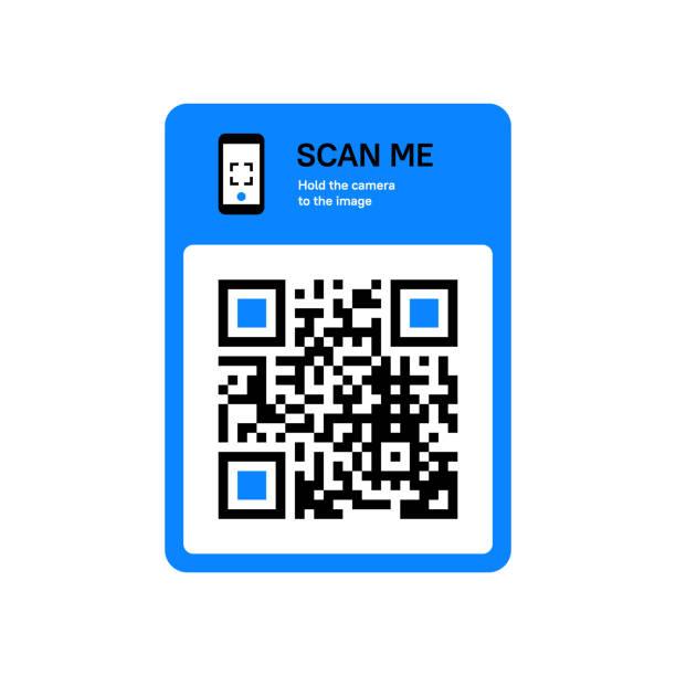 QR code scanning sticker for smartphone. Vector flat design illustration. coding stock illustrations