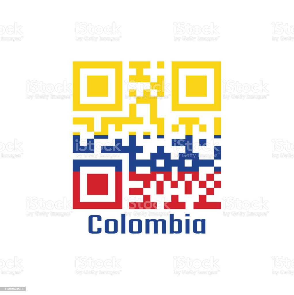 Qr Code Set The Color Of Colombia Flag A Horizontal Tricolor