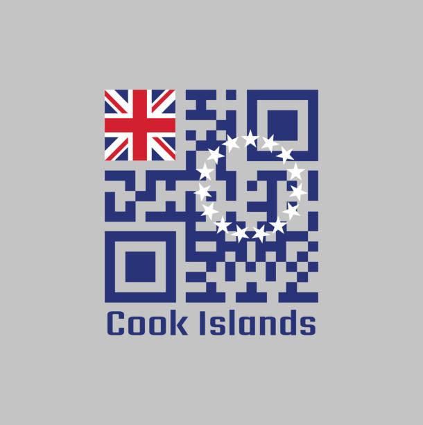 ilustrações, clipart, desenhos animados e ícones de código qr definir a cor da bandeira ilhas cook. alferes azul com um anel de quinze estrelas brancas na mosca. - bandeira union jack