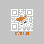 QR code set the color of Cyprus flag. an outline of the country of Cyprus above twin olive branches on a white field. with name text Cyprus.