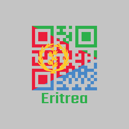 QR code set the color of Eritrea flag, A red isosceles triangle on blue and green triangle with olive branch on gold.
