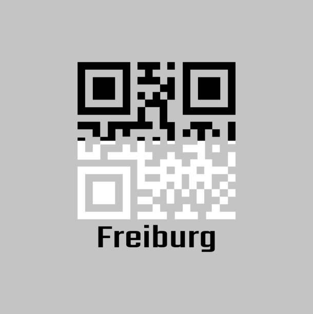 qr-code legt die farbe der freiburger flagge, der kanton der schweiz. - schwarzwald stock-grafiken, -clipart, -cartoons und -symbole