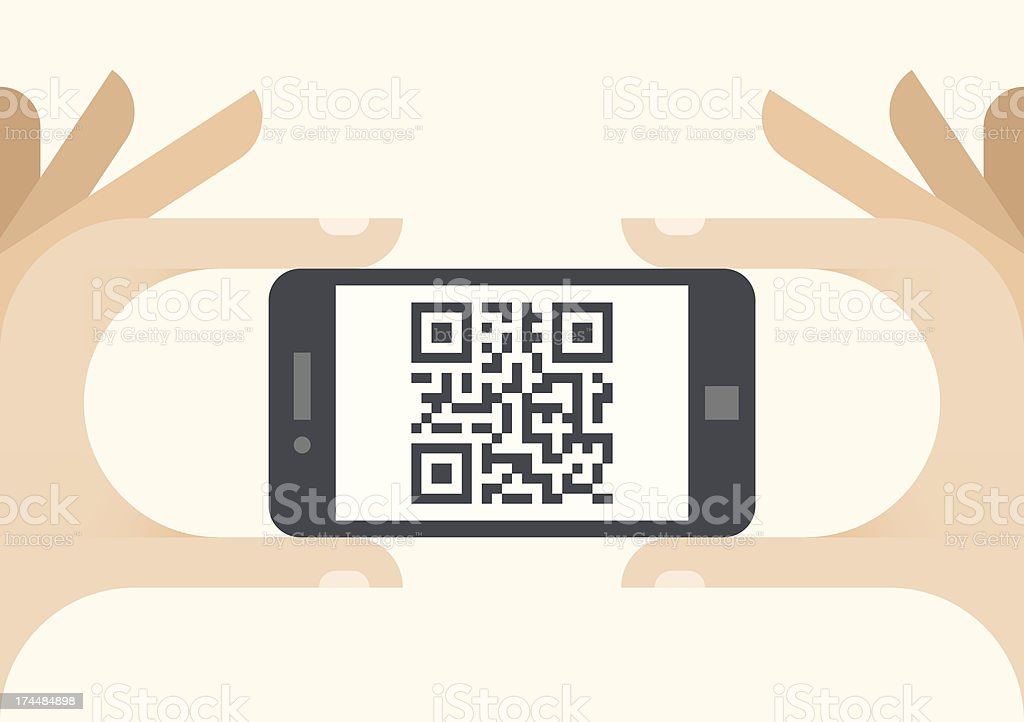 QR code shown on smartphone screen vector art illustration