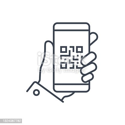 istock QR Code Smartphone in Hand Icon Abstract Vector. Bar code Vector Illustration 1324087782