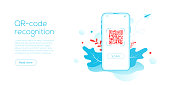 QR code technology in creative flat vector illustration. Smartphone matrix barcode system concept. Locator or identifier scanner in mobile phone. Web site landing page template or webpage banner.