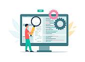 istock Code testing technology, web programming, application development and debugging. 1297824743