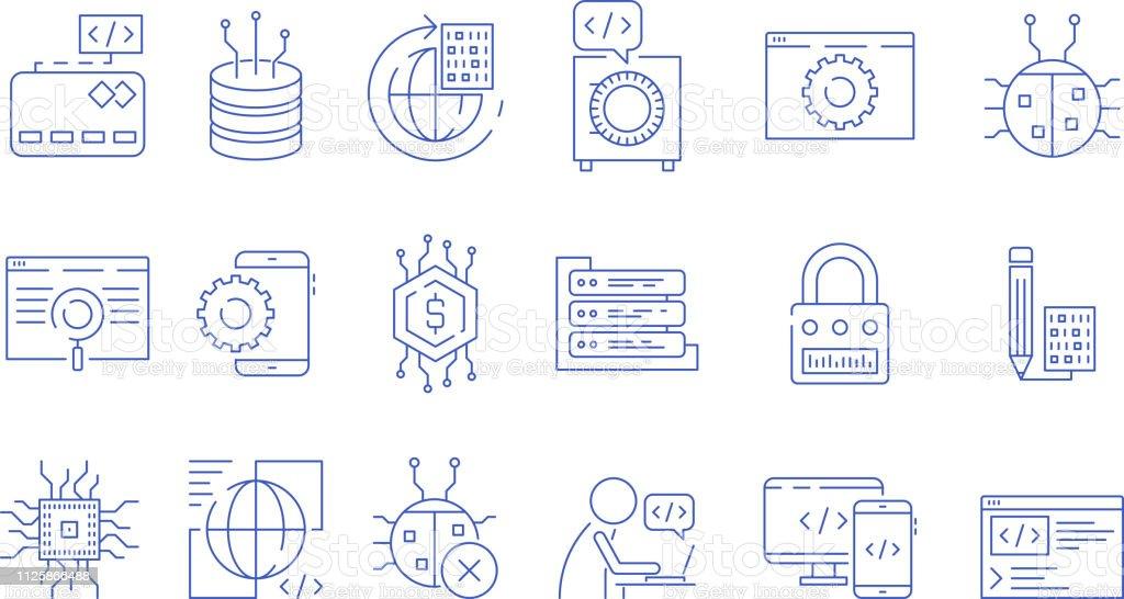 Coder icons. Programmer computer software expert input ends execute...