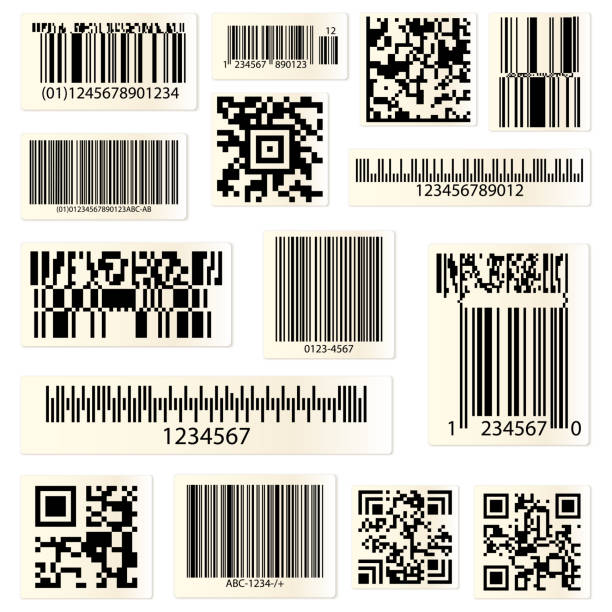 qr codes and barcodes with numbers - kod kreskowy stock illustrations