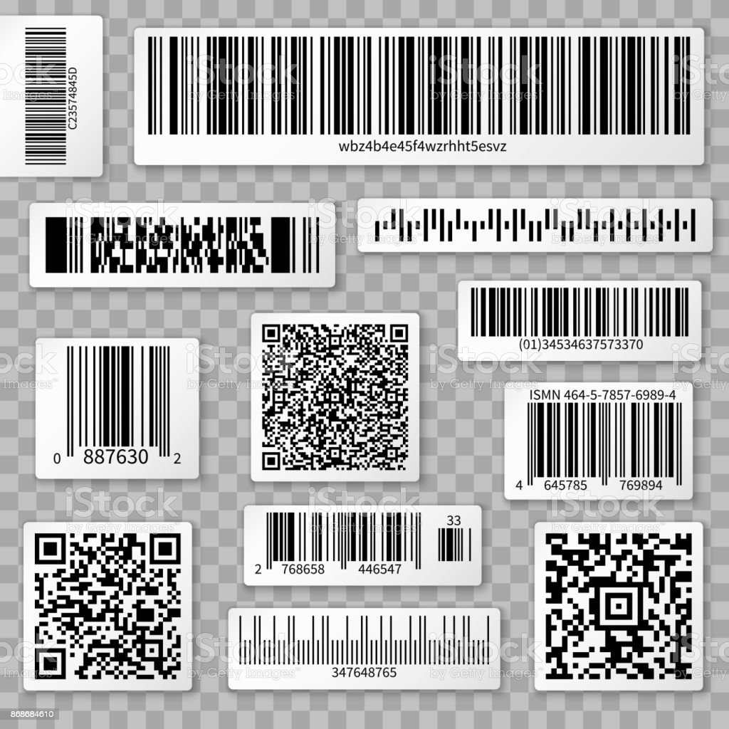QR codes, bar and packaging labels isolated on transparent background vector art illustration