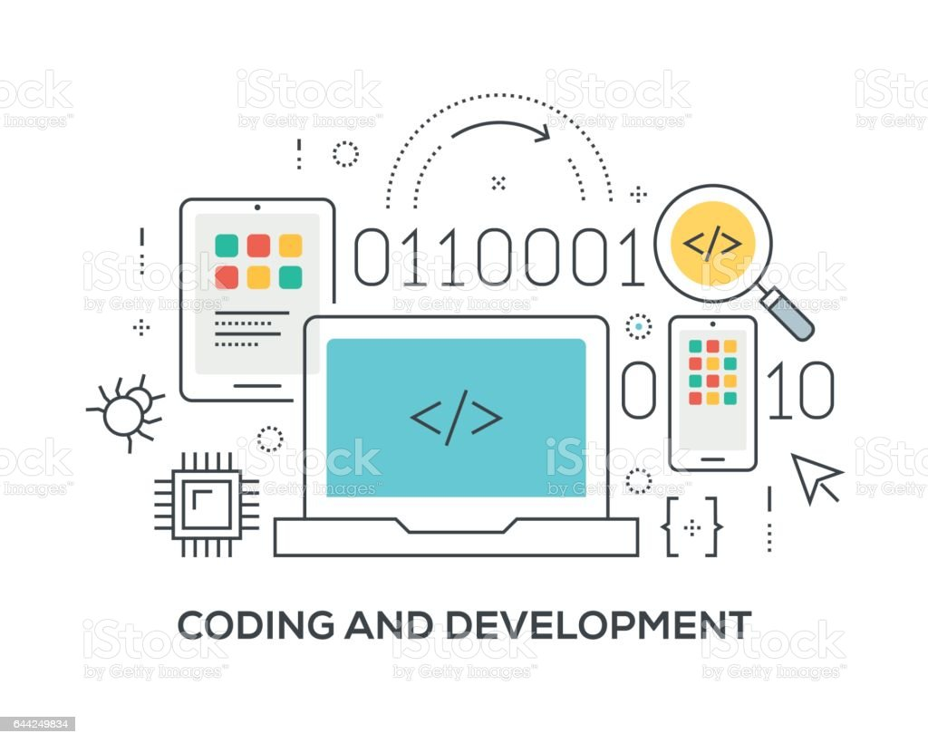 Coding and Development Concept with icons vector art illustration