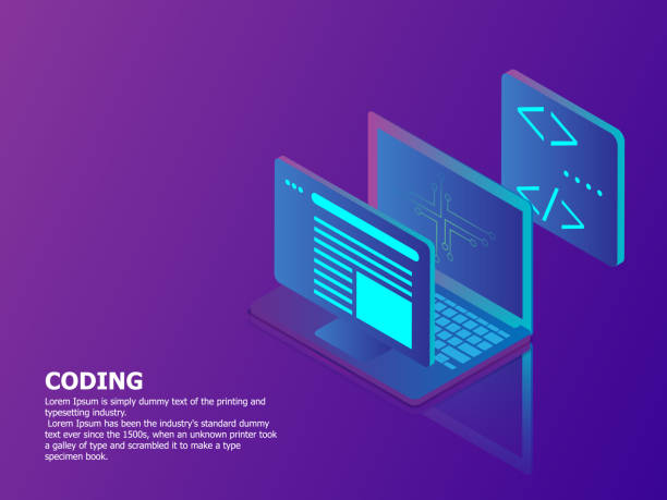 coding concept with laptop vector art illustration
