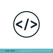 Coding Icon Vector Logo Template Illustration Design. Vector EPS 10.
