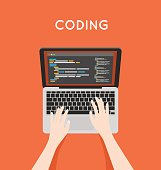 Coding php or html on laptop. Programming mobile app