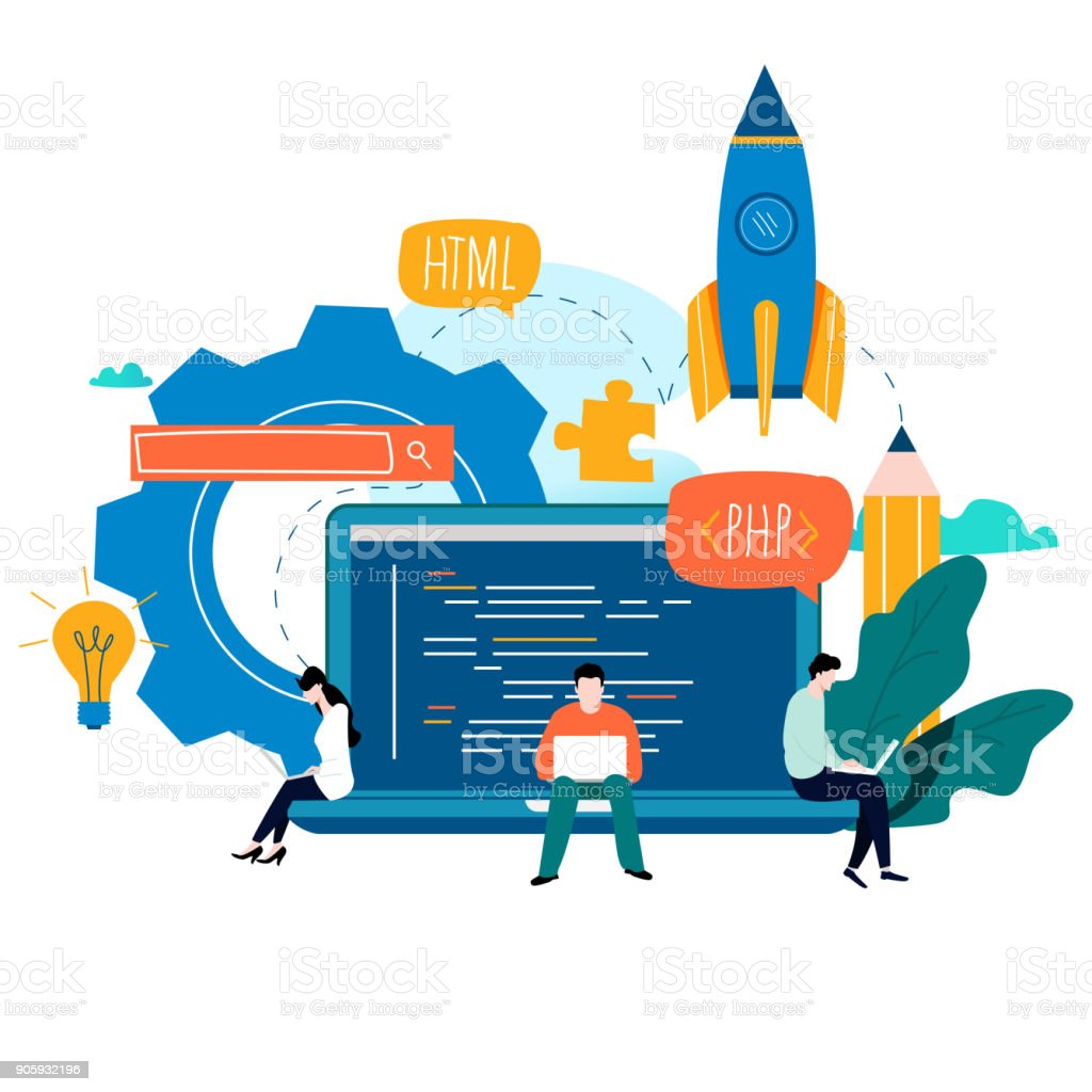 Coding, programming, application development flat vector illustration design vector art illustration