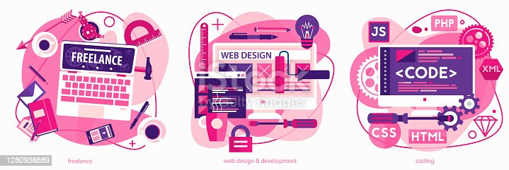 Programming and coding, scripting and website development, and freelance concepts