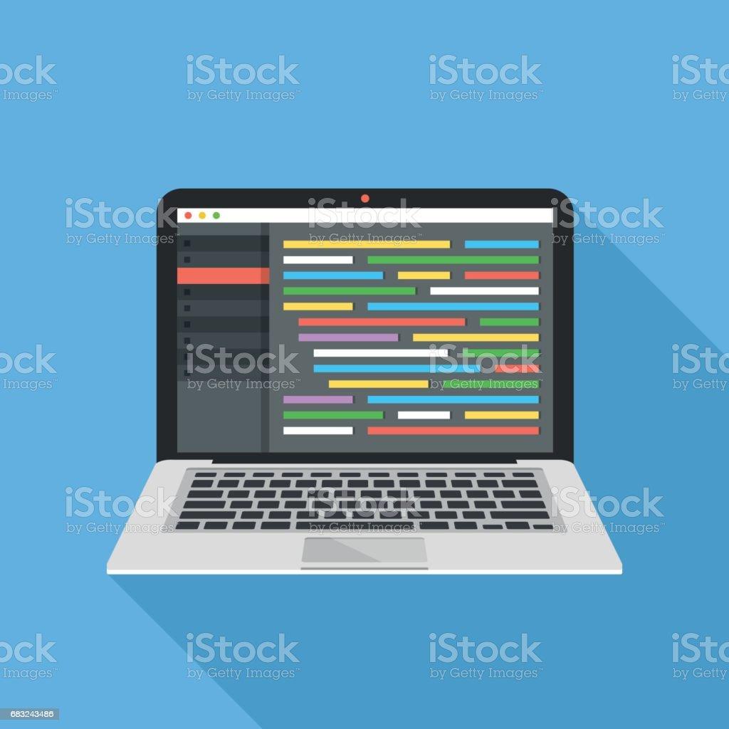 Coding, programming, web development concept. Source code editor with lines of code on laptop screen. Modern flat design vector illustration vector art illustration