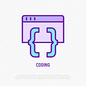Coding thin line icon. Modern vector illustration of programming.