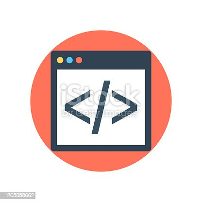 HTML Coding Vector Icon Round style illustration.