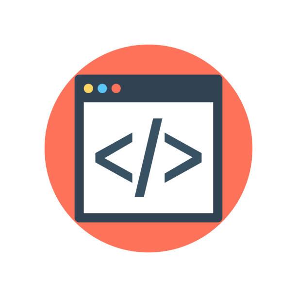 html-codierung vektor-symbol runde stil-illustration. - html stock-grafiken, -clipart, -cartoons und -symbole